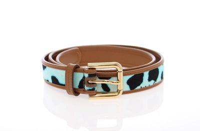 Blue Leopard Leather Logo Belt