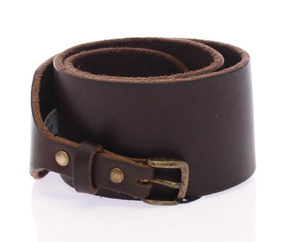 Brown Leather Logo Waist Belt