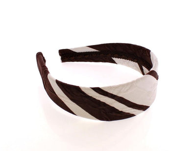 Brown White Cotton Fabric Headband Hair Diadem