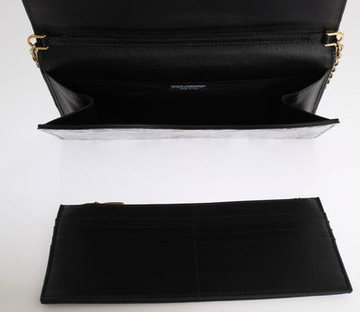 Black Gray Lace Print Leather Evening Clutch Bag