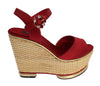 Red Silk Ankle Strap Crystal Wedges Shoes