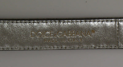 Silver Silk Sequined Silver Logo Belt