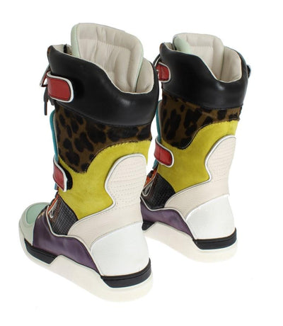 Multicolor Leather Mid Calf Sneakers