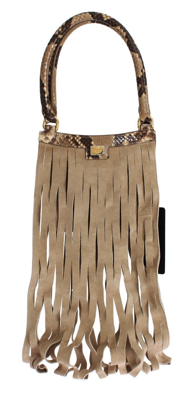 Beige Snakeskin Leather Hand Bag Purse