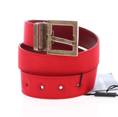 Red Fabric Gold Logo Belt