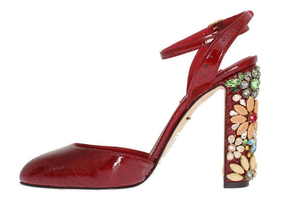 Red Leather Floral Crystal Shoes