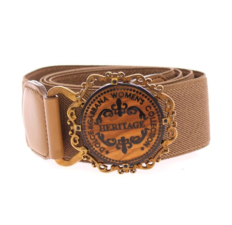 Beige Leather Logo Stretch Belt