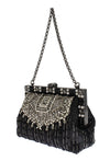 Crystal Embellished Black VANDA Clutch Bag