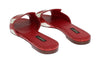 Red Crocodile Leather Flat Sandals