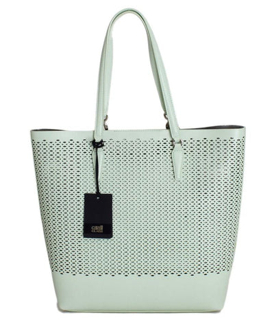 Light Green Leather Tote Shopping Bag