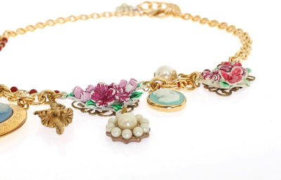 Gold Brass Floral Sicily Charms Necklace