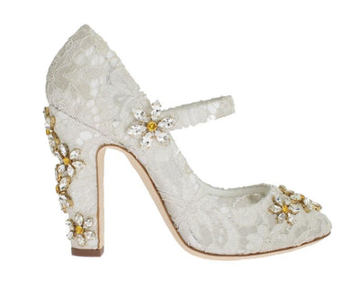 White Floral Lace Crystal Pumps
