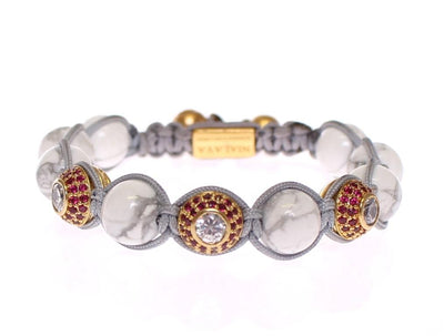 Howlite Clear Red CZ 18K Gold 925 Silver Bracelet