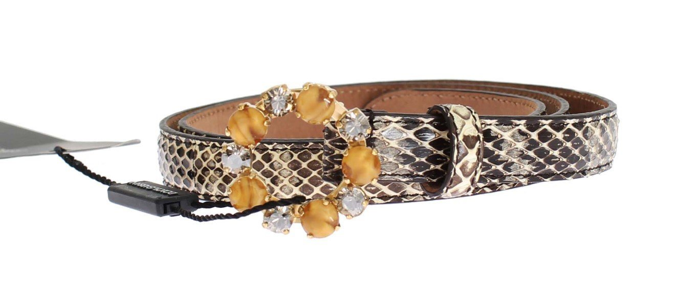 Beige Snakeskin Crystal Gold Buckle Belt