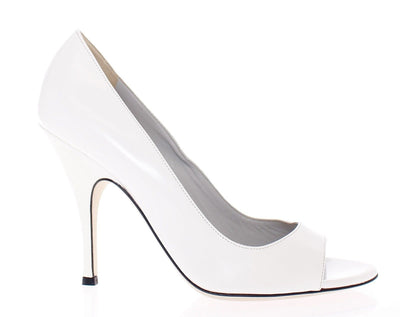 White Open Toe Leather Pumps Shoes