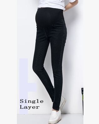 100% Cotton Maternity Jeans Belly Elastic Thin Trousers Denim Pants - elatestore