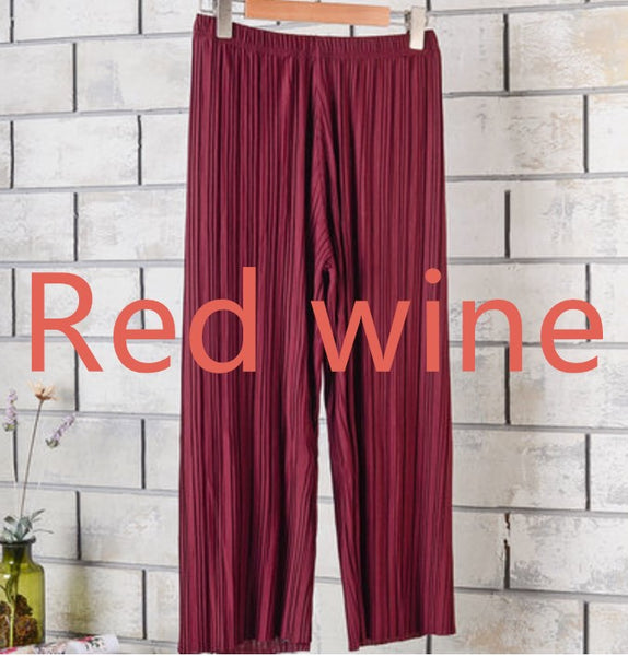 Summer Female Wrinkle High Waist Loose Thin Section Wide Range Of Chiffon Legs long Leg Pants Korean Pant Fashion Sexy