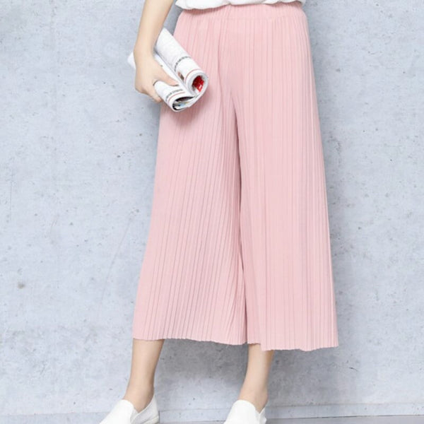 Summer Female Wrinkle High Waist Loose Thin Section Wide Range Of Chiffon Legs long Leg Pants Korean Pant Fashion Sexy - elatestore