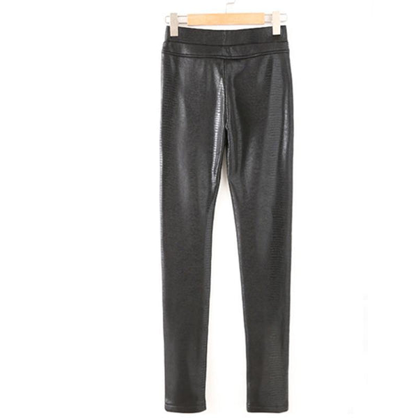 Elastic High Waist Warm Women Faux Leather Snakeskin Pants - elatestore