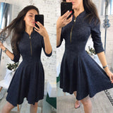 Women Bust Zippers Dress Solid Pleated V-neck Sexy Ladies Dresses Evening Party Bodycon Mini Dress vestidos-elatestore-elatestore