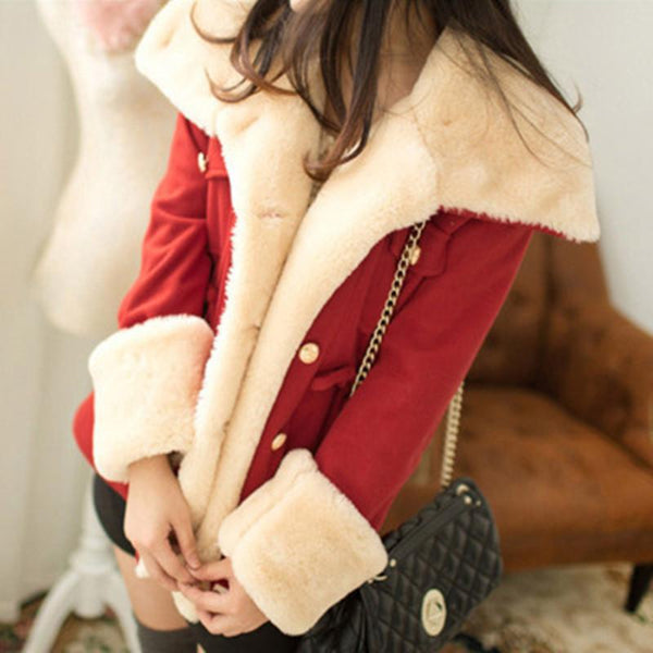 Women Basic Casual Jacket Slim Double Breasted College Wind Cotton Coat-elatestore-elatestore