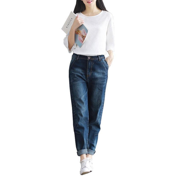 Casual Loose Fit Boyfriend Jeans Harem Denim Pants - elatestore
