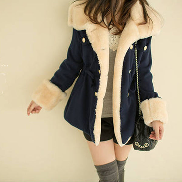 Warm Blend Trench Parka Double Breasted Wool Coat Long Sleeve Outwear Jacket-elatestore-elatestore
