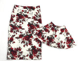 Mother And Daughter Family Matching Flower Skirt Red Roses-elatestore-elatestore