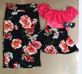 2017 Family Matching Outfits Mother And Daughter Flower Skirt Baby Girls Red Rose Skirts Kids And Parents Summer Skirt - elatestore