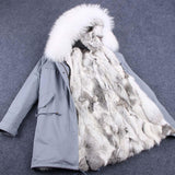 Warm Women's Rabbit Fur Lining Hooded Long Coat Parkas Outwear Large Fur Collar Winter Jacket-elatestore-elatestore