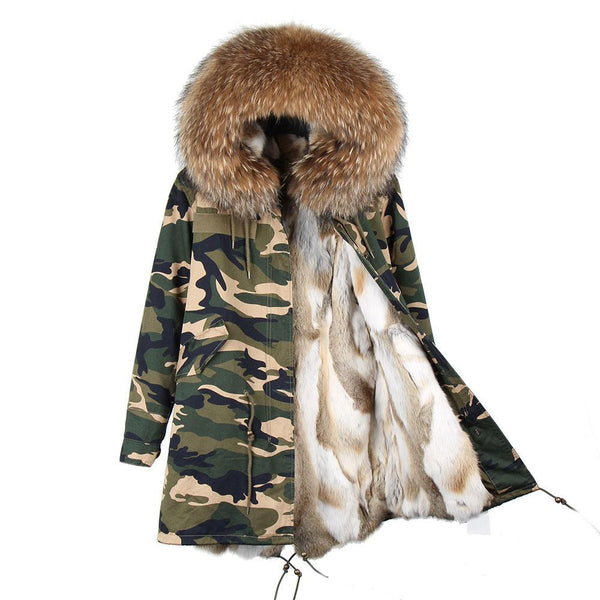 2017 Fashion women's rabbit fur lining hooded long  coat parkas outwear army green Large raccoon fur collar winter jacket DHL