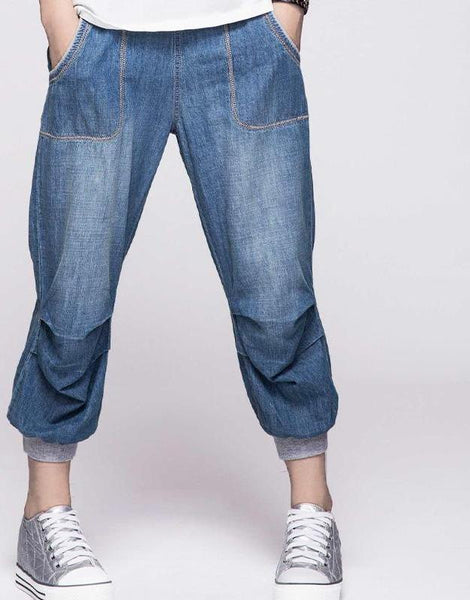 Plus Size Women Jeans Mid Waist Harem Pants Denim Jeans Loose Trousers-elatestore-elatestore