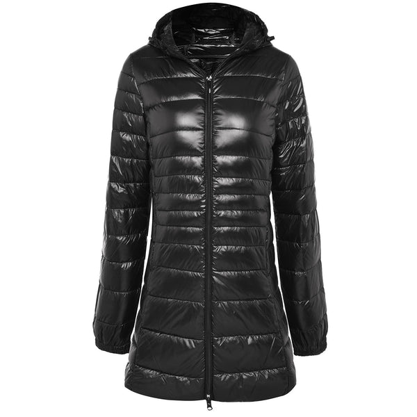 Women Warm Ultralight Coat Duck Down Jacket Hooded Parka-elatestore-elatestore