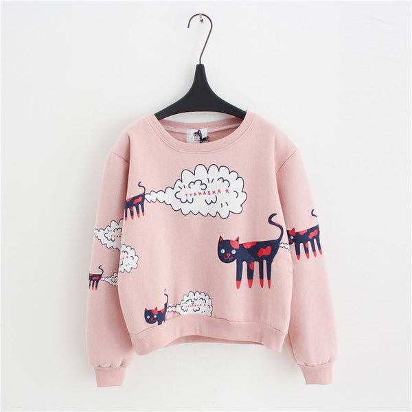 2017 New Spring Autumn Sweatshirt Women Tops Plus Size Loose Casual Plus Thick Velvet Cartoon Cat Pattern Sweatshirts Pullovers