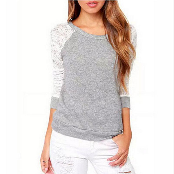 Women Lace Casual Hoodies Sweat-shirts Backless Embroidery Tops-elatestore-elatestore