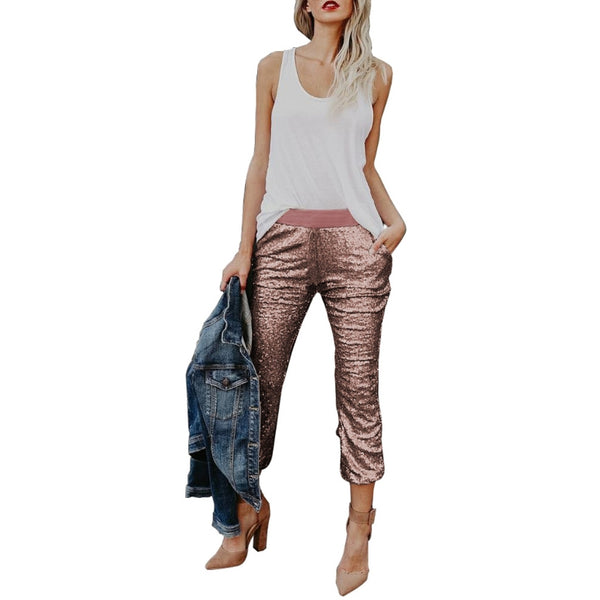 2017 New Women's Sexy Solid Sequin Drawstring Medium Waist Pants Joggers Capris Trousers - elatestore