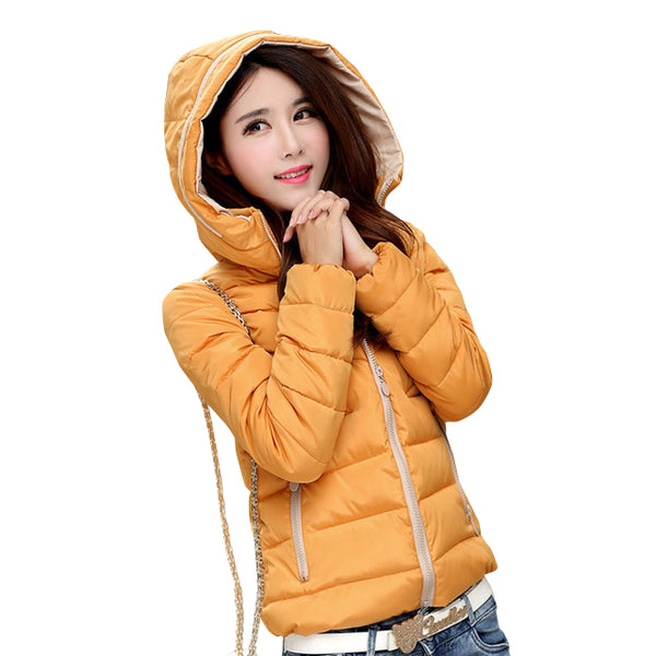 2017 New basic Jacket Women Autumn Winter Short Coats Solid Hooded Down Cotton Padded Slim Warm Pockets Female Jacket Coats - elatestore