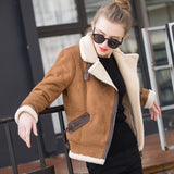 Sweet Sheepskin Faux Leather Jacket-elatestore -elatestore