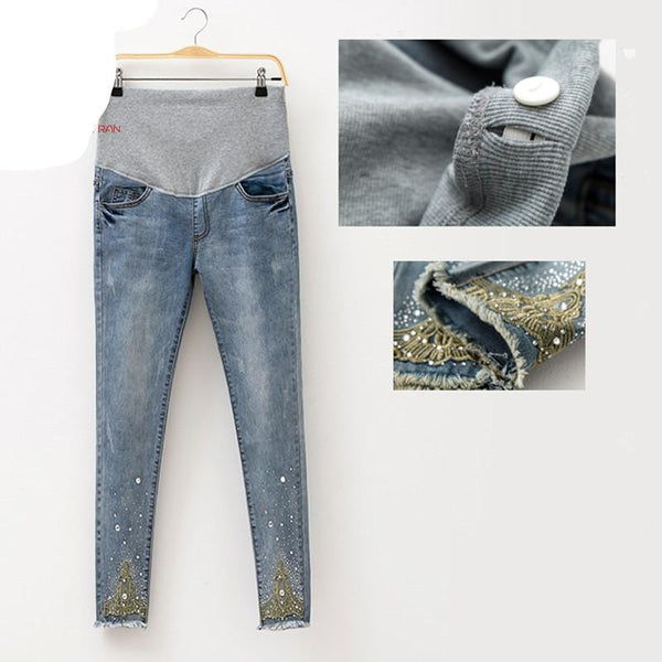 Denim Maternity Fashion Jeans Hot Beads Trousers Pregnant Pantalon - elatestore