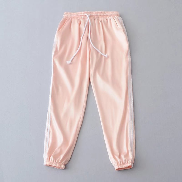 2019 Spring Summer Women Satin Casual Pink Retro White Stitching Closed Comfy Sweatpants Leisure Trousers Pants  & Capris Women - elatestore