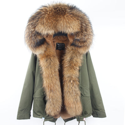 2017 Winter Parka fur hood winter jacket women parkas natural real fur coat for women thick soft lining abrigos de piel mujer 1