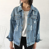 2017 Women Basic Coat Denim Jacket Women Winter Denim Jacket For Women Jeans Jacket Women Denim Coat loose fit casual style