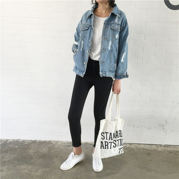 Women Denim Jacket Jeans Jacket Loose Coat Casual Style-elatestore-elatestore