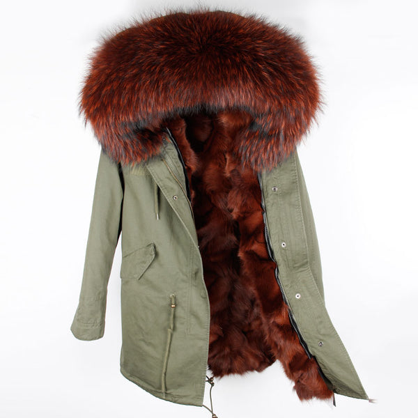 2017 new fashion women luxurious Large raccoon fur collar hooded coat warm Fox fur liner parkas long winter jacket top quality 1