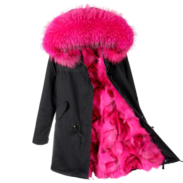 Warm Luxury Large Raccoon Fur Collar Hooded Coat Fox Fur Liner Parkas Long Jacket-elatestore-elatestore