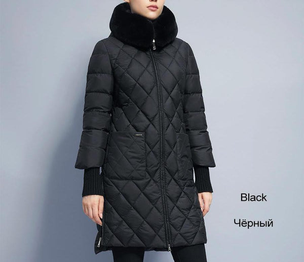 Women Warm Jacket Fur Collar Hooded Parka Cotton Padded Coat-elatestore-elatestore