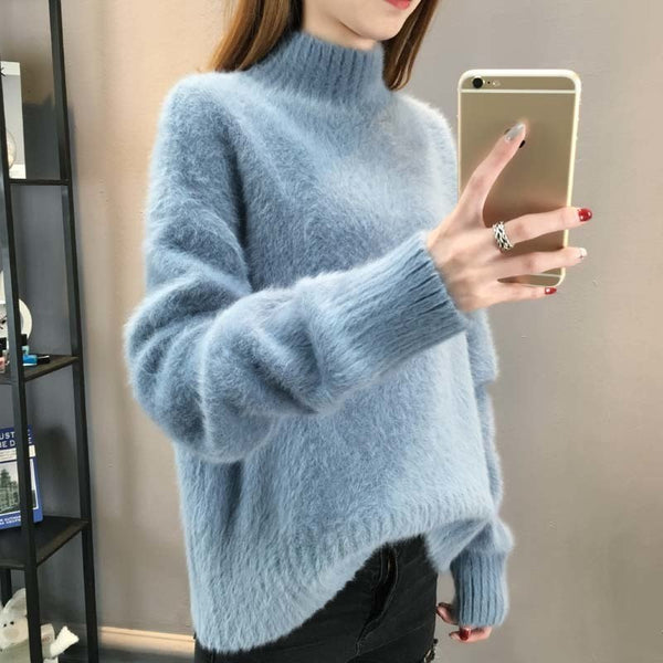 Casual Loose Mohair Pullover Sweater Velvet Tops - elatestore