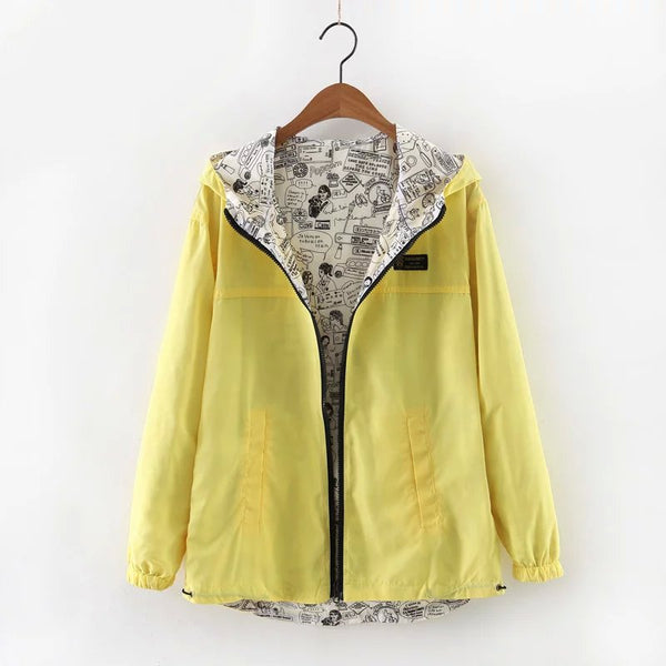 2018 Autumn Women Bomber Basic Jacket Pocket Zipper Hooded Two Side Wear Cartoon Print Outwear Loose Coat