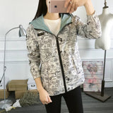 2019 Autumn Women Bomber Basic Jacket Pocket Zipper Hooded Two Side Wear Cartoon Print Outwear Loose Coat-elatestore-elatestore