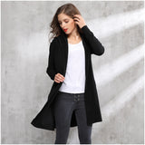 Long Hooded Jacket Knitted Coat Sweater Cardigan Trench-elatestore -elatestore